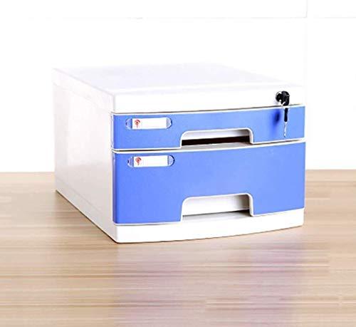 Platte mappen, plat, opbergdoos, informatie van meubels, archieven, 2 schuifladen van kunststof, kantoor met vergrendeling, ladentype, hoge capaciteit, ruimte voor A4-bestanden 2
