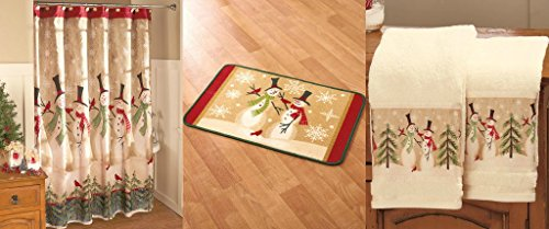 Snowman Merry Christmas Shower Curtain, Bathroom Towel and Doormat Set