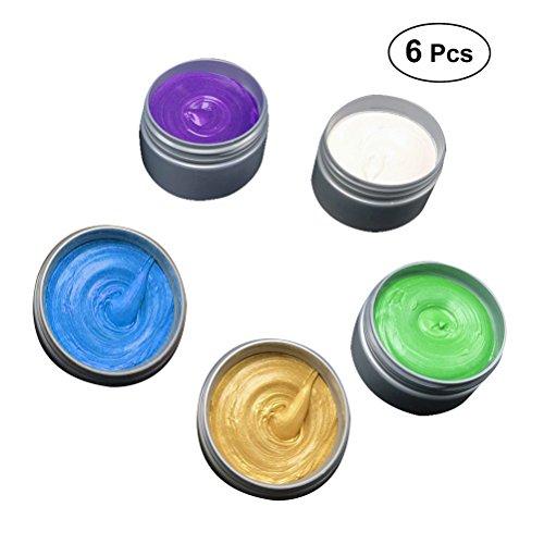 frcolor 6pcs couleur de cheveux disponibles cire temporaire Crème de modélisation mat pour hommes ou femmes