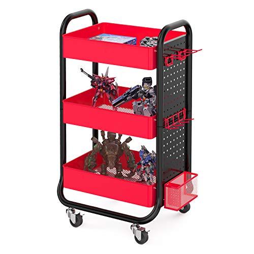 Designa Spielwagen mit 3 Ebenen, mit abnehmbarer Stecktafel und zusätzlichen Aufbewahrungskörben, Metall-Handwerk für Geschenk, Heimbüro, Schwarz und Rot