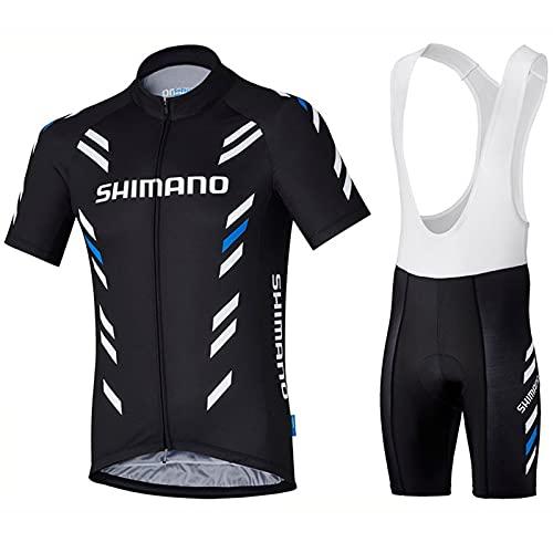 MINGJ Hombre Conjunto Ropa de Ciclismo para Verano Ciclismo Maillot y Ciclismo Culote Bicicleta con 5D Gel Pad para Deportes al Aire Libre Ciclo Bicicleta,Black(B)-S