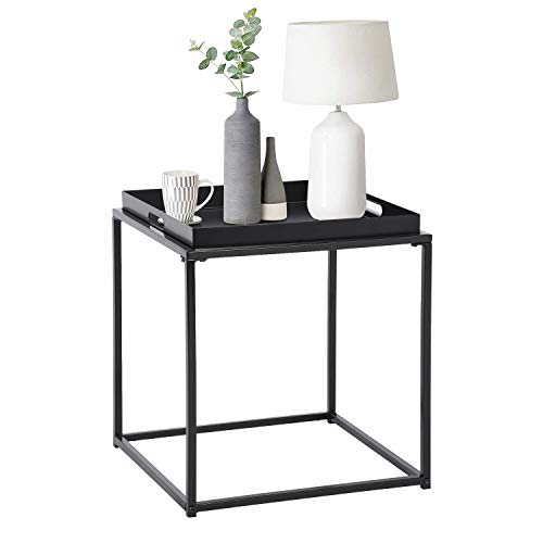 FurnitureR Mesa auxiliar cuadrada pequeña, mesa auxiliar de metal completa, impermeable, mesa de centro pequeña, sofá, mesa auxiliar con bandeja extraíble, antioxidante, uso en...