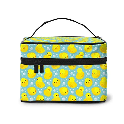 Makeup Bag Funny Yellow Rubber Duck On Teal Large Cosmetic Travel Bag Case Organizer Pouch Make Up Storage Toiletry Bags