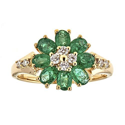 Gin & Grace 18k Gelbgold natürliche Emerald Diamond (SI1) Eine Promise Ring (Größe 7) für Frauen