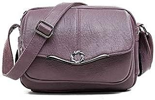 HAWEEL Anti-Theft Classic Retro Messenger Travel Pure Color Retro PU Leather Single Shoulder Bag Small Square Bag Ladies Messenger Bag Handbag (Black) Sling Crossbody Mini Purse One Size