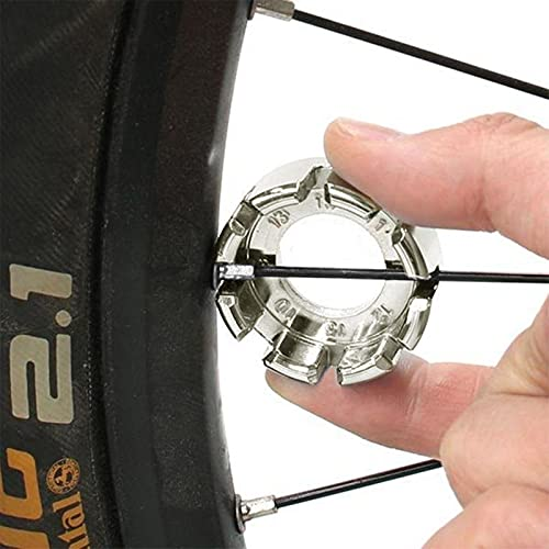 Goabroa Spoke Wrench, Hard Steel 8 Way Bike Rim Truing Tool for Adjust Bicycle Wheel Tension