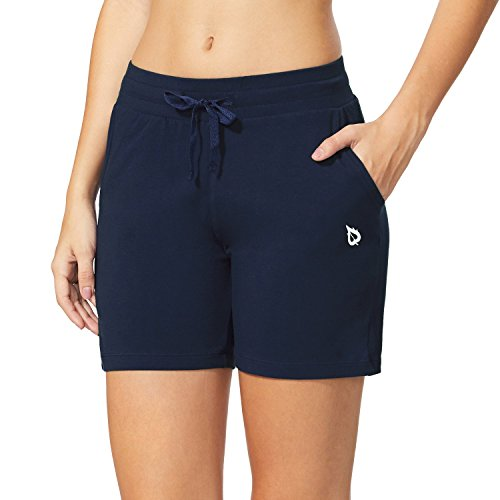 Baleaf Women's Activewear Yoga Lounge Shorts with Pockets Navy Blue Size M