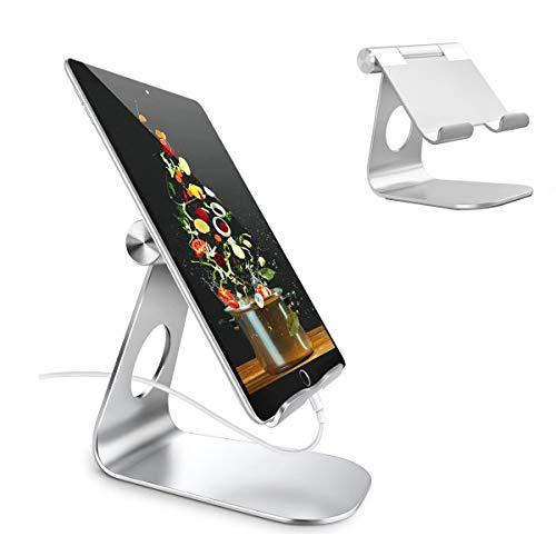Libershine Soporte Tablet, Soporte Tablet Ajustable Soporte Móvil para 4'~13' Tablets para iPhone 12 Pro MAX 12 Mini 11 XR SE, Huawei Xiaomi Samsung y Otras Smartphones, Plata