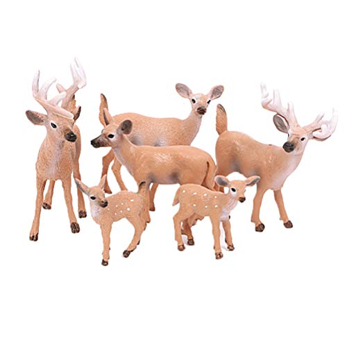 Amosfun 6 Pcs Mini Deer Christmas Reindeer Figures Miniatures Elk Reindeer Art Animal Cake Toppers Christmas Holiday Centerpieces Table Decor Miniatures Fairy Garden Decor(random)