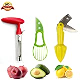 Apple Corer, Citrus Reamer, Avocado Slicer Tool, Pear Corer With Serrated Blade, Lemon Reamer/Juicer/Squeezer with Zester and Paring Knife,3-in-1 Avocado Cutter Good Fruit tool Set