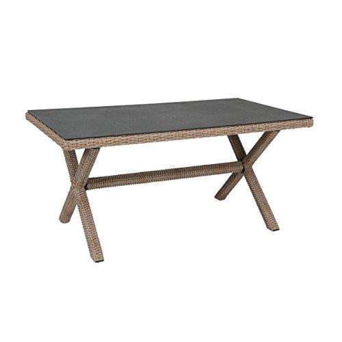 greemotion X-Tisch Menorca braun, Esstisch mit Spraystone-Tischplatte, Halbrundgeflecht aus robustem Polyethylen, Gartentisch aus hochwertigem Aluminumgestell, wetterfest und pflegeleicht