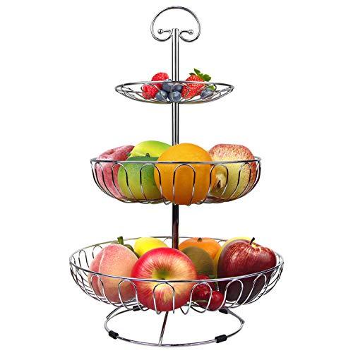 karadrova Portafrutta a Piani Fruttiera 3 Piani Cromo Metallo Porta Frutta Moderni Cesto Frutta Argento Grande Alzata Portafrutta Argento 30 x 46 cm