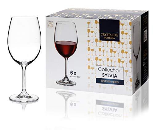 Bohemia - Juego de 6 copas de vino de cristal blanco o tinto de 450 ml, caja de regalo, apta para lavavajillas, transparente perfecto para el hogar, restaurantes y fiestas.