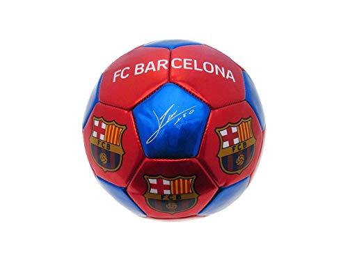 FCB Pallone da calcio Ufficiale FC Barcelona. Misura 3. Taglia da Allenamento. Colore Rosso/Blu. Autografi dei Giocatori di Colore Bianco.