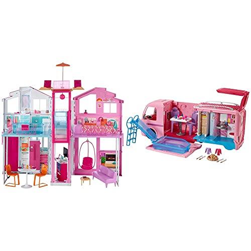 Barbie - Supercasa - casa muñecas, Regalo para niñas y niños 3-9 años (Mattel DLY32) + Supercaravana de Barbie - Autocaravana barbie - (Mattel FBR34)