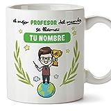 Profesor Tazas originales personalizadas con tu nombre de café y desayuno para regalar - Esta taza pertenece al mejor profesor del universo - Cerámica 350 ml - Magisterio Maestro Personalizable