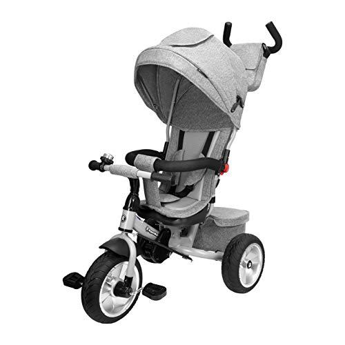 HyperMotion Triciclo para niños con mango de control para padres, Tobi Spiner, con cinturón de seguridad, sillín cómodo, ruedas hinchables, primera bicicleta para niños y niñas, color gris