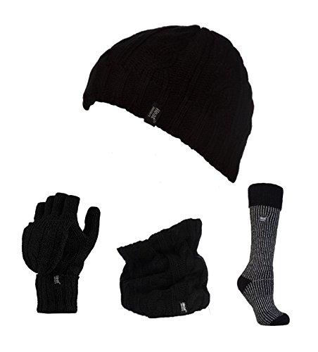 Warmtehouders - Dames Thermische Hoed, Omvormer Handschoen, Nek Warmer & Geribbelde Boot Sokken Set Grootte 4-8 uk, 37-42 eur