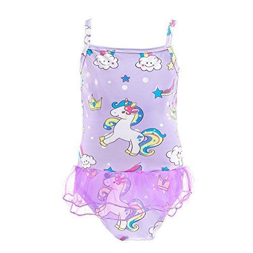 Lito Angels Mädchen Einteiler Badeanzug Badeanzug Bademode Beachwear Outfit Einteiler Größe 8 Lila 053