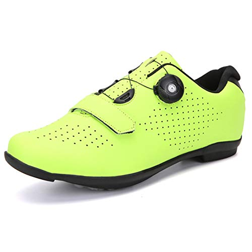 ZYSM Zapatillas de Ciclismo de montaña para Hombre, compatibles con Tacos SPD, Buenas para Bicicleta de Spinning, Todoterreno y MTB,Fluorescence b,42