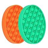 Push Pop Pop Bubble Sensory Fidget Toy,Silicone Stress Reliever Autism Special Needs,Squeeze Sensory Toy (Orange,Green)