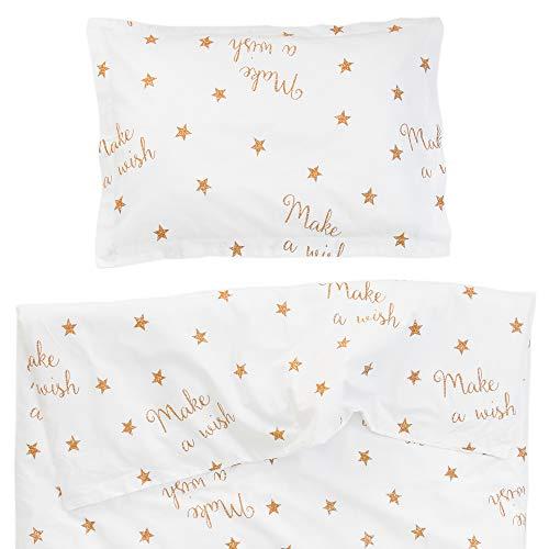 Pati'Chou Make a Wish - Juego de Funda Nórdica Minicuna, 2 piezas, 100% Algodón (funda de edredón 80x120 cm y 1 funda de almohada 30x40 cm), Diseño de estrellas, Color Blanco
