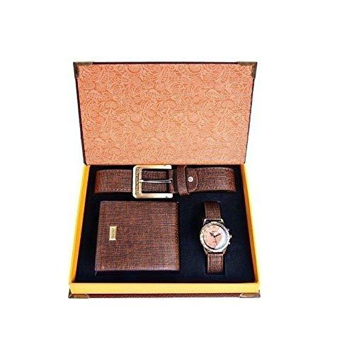 Souarts, set con cintura, orologio da polso analogico di quarzo e portafoglio in pelle artificiale da uomo, colore: marrone