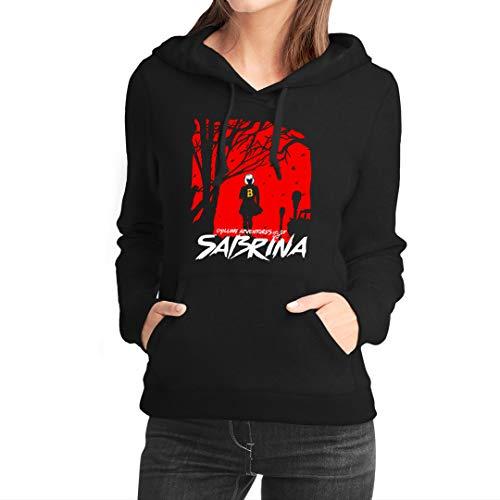 Fanta Universe Sabrina - Felpa con Cappuccio Donna - 50% Cotone (XL, Nero)