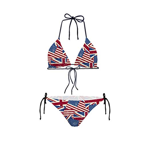 Shinelly 3D Drucken Abstrakt Muster Damen Bikini Set Zweiteilige Badeanzug Mit Push Up Crossover Bikinioberteil und Triangel Bikinihose Sexy Halter Bademode Bikini-Sets Amerika Flagge XL