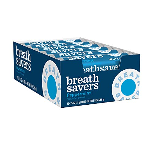 BREATH SAVERS Sugar Free Mints, Peppermint, 0.75 Ounce Roll (Pack of 24)