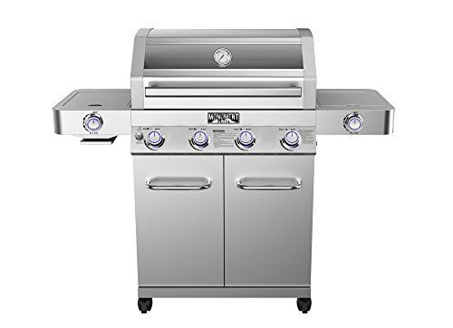 Monument Grills Clearview Lid 4 Burner with Side Sear Burner Propane Gas Grill