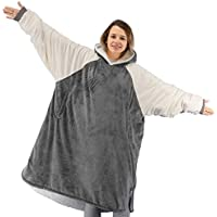 Winthome Soft Cosy Reversible Sherpa Wearable Blanket (Gray, M)