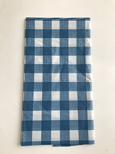 ROYAL 54' X 108' Gingham Checkerboard Disposable Rectangular Plastic Table Cover (4, Blue)