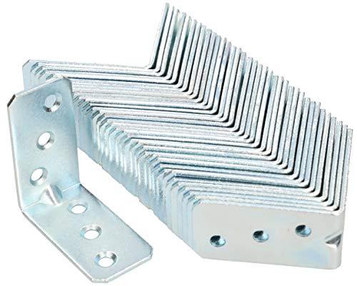 KOTARBAU Winkelverbinder 50 x 50 x 25 x 2 mm mit Sicke Stahl Bauwinkel Montagelöcher Möbelverbinder Verzinkt Schwerlast Holzverbinder Montagewinkel (50)