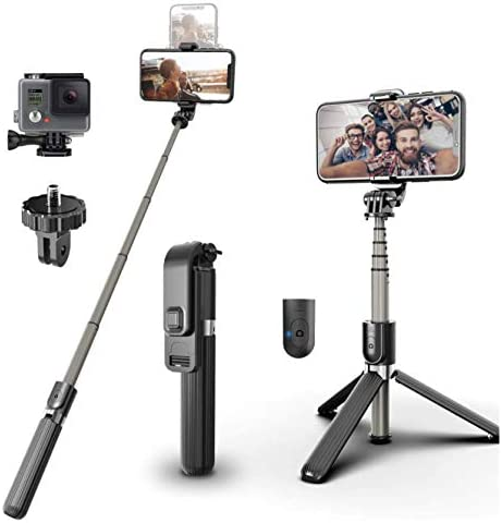 MARGGIESTORE Bluetooth Selfie Stick Mini Extendable Monopad with Wireless Remote Cellphone Tripod product image