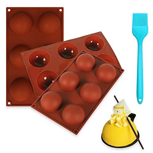 3 pezzi Stampo per dolci a forma semisferica con pennello in silicone stampo in silicone sfera mezza sfera per la cottura di torta al cioccolato