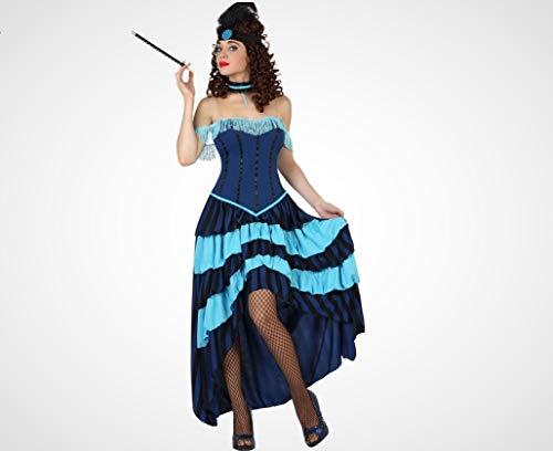 Atosa-57564 Atosa-57564-Disfraz Cabaret-Adulto Mujer, Color azul, XS a S (57564
