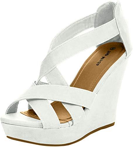 TOP Moda Ella-18 Womens Gladiator Wedge Heel Sandals,White,6.5