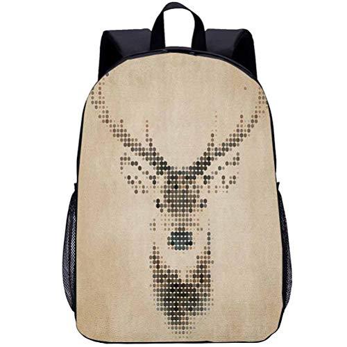Printing Backpacks, Deer, Kindergarten Cute Cartoon Schoolbag, 16 inch