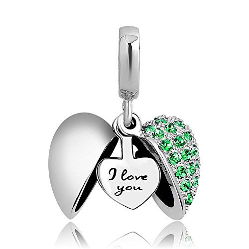Korliya I Love You Heart Charm Green Crystal Dangle Bead for Bracelet