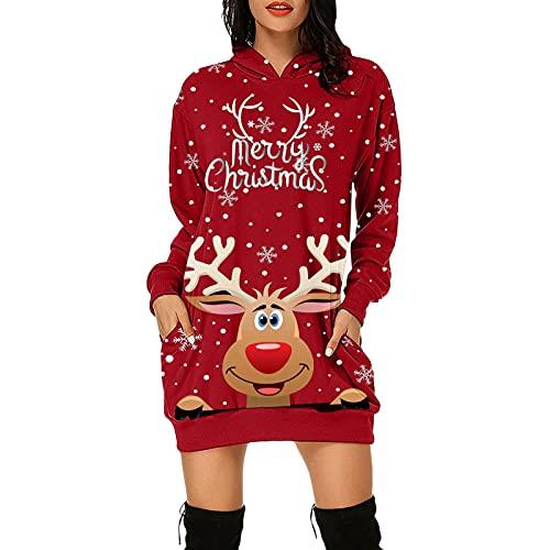 Zilosconcy Damen Weihnachts Hoodie Weihnachten Kleider Festival Langarm Weihnachtskleid Lang Weihnachtspullover Weihnachten Druck Partykleid A-Linie Swing Kleid Dress Kostüm Kapuzenpullover