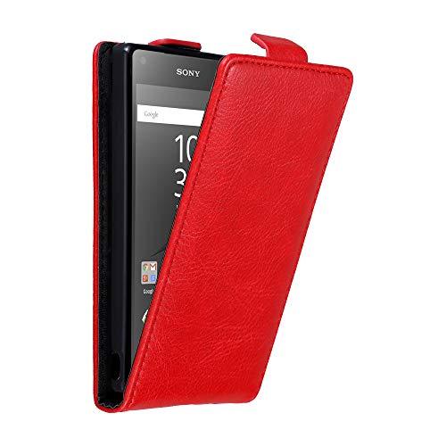 Cadorabo Hülle für Sony Xperia Z5 COMPACT in Apfel ROT - Handyhülle im Flip Design mit Magnetverschluss - Hülle Cover Schutzhülle Etui Tasche Book Klapp Style