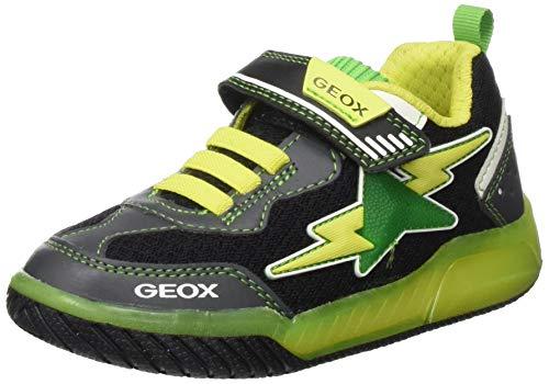 Geox Jungen J INEK Boy B Sneaker, Schwarz (Black/Lime C0802), 33 EU