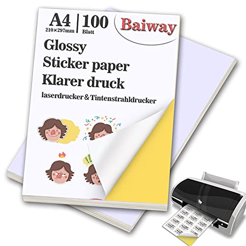 BaiWay Universal Etiketten Selbstklebend 100 Blatt 210 x 297 mm, Glänzende Druckerpapier A4 Aufkleber Papier Etikettendrucker Bedruckbar für Büromaterial Laser und Tintenstrahldrucker