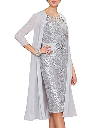Women's Elegant Lace Mother of The Bride Dresses with Jacket 2 Piece Evening Party Dreses Knee Length MM04 Silver Plus Size 24