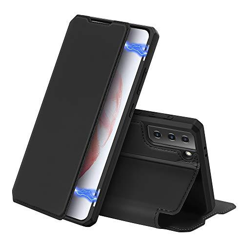 DUX DUCIS Funda para Samsung Galaxy S21 5G, Cuero Premium Cierre Magnético Flip Folio Carcasa para Samsung Galaxy S21 5G (Negro)
