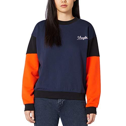 Wrangler Clothing Sweater Retro Damen-Sweatshirt Blau W6N0HY114, Blau L
