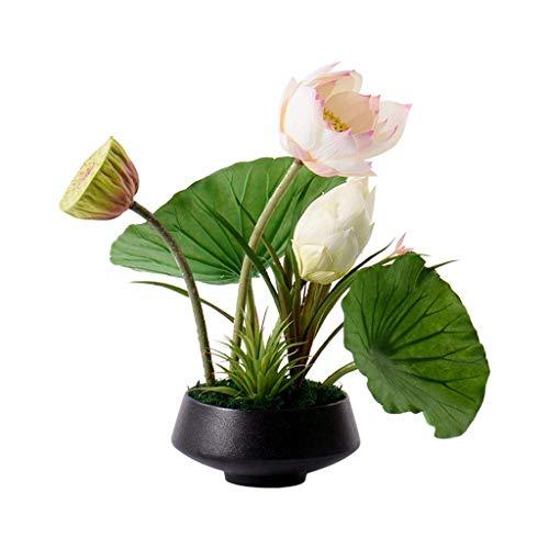 WQF Flores Artificiales Estilo Chino Flor de Loto Artificial Plantada en sartén Flor de Loto Bonsai, Estudio de Hotel Flor Artificial Accesorios para el hogar, Planta Artificial Mesa d