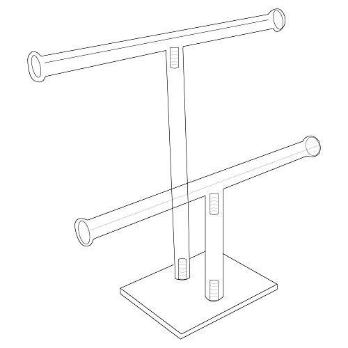 Acrylic Dual Jewelry T-Bar Bracelet/Watch Display Stand