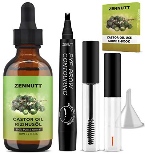 Rizinusöl Castor Oil,Rizinus öl Haare mit Augenbrauenstift,Augenbrauen Bürste & Wimpernpinsel,E-Book,Vorbehandlungen Öle,ätherische Öle Set,Geschenk für...